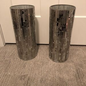 2 tall silver mirrored decorative vases